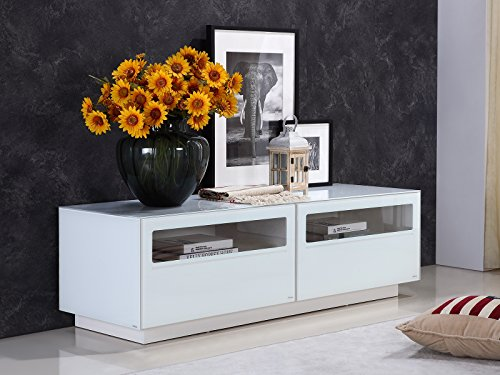 CORTE High Gloss White Lacquer Entertainment Center by Casabianca Home TC-0180-WH - CORTE High Gloss White Lacquer Entertainment Center by Casabianca Home