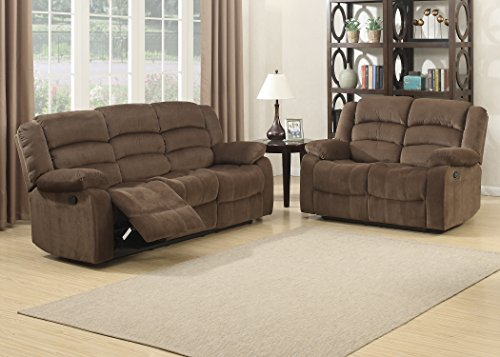 AC Pacific 2 Piece Bill Collection Contemporary Living Room Upholstery Sofa Set, Brown