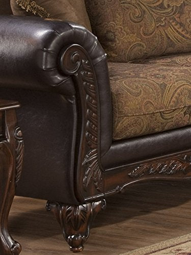 Roundhill Furniture LHU7685SEC San Marino Chocolate Solid Wood Frame Sectional Sofa