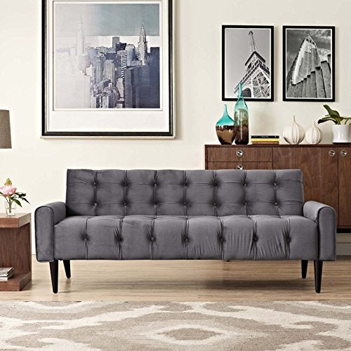 Modway Delve Luxury Button Tufted Upholstered Velvet Sofa In Gray