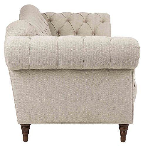 Homelegance St. Claire Traditional Style Sofa with Tufting and Rolled Arm Design, Brown/Almond