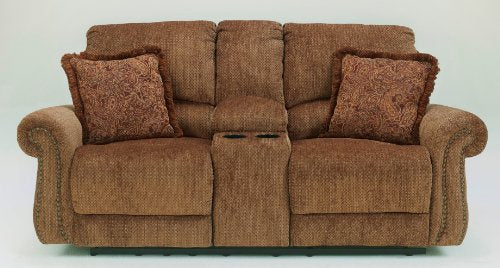 Signature Design by Ashley Macnair Umber Reclining Power Loveseat with Console