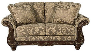 Ashley Furniture Signature Design - Irwindale Loveseat - Traditional Elegant Sofa - Topaz with Goldtone Leaf Finish