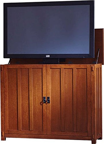 "Touchstone 72006 - Elevate TV Lift Cabinet - TVs Up To 50 Inch Diagonal (45"" Wide TV) – Mission Oak - 50 In Wide - Quiet & Quick Whisper Lift II TV Lift – Wired & Wireless RF Remote"