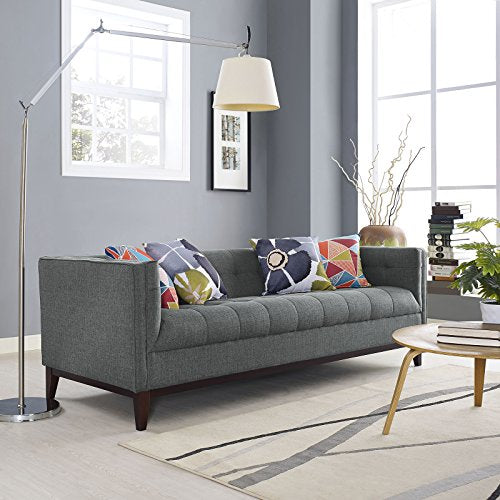 Modway Serve Modern Tuxedo Sofa With Upholstered Tufted Fabric in Gray