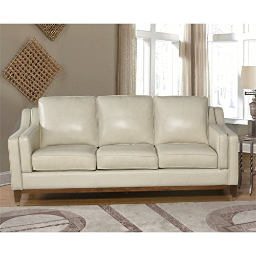 Abbyson Living Clayton 2 Piece Top Grain Leather Sofa Set in Cream