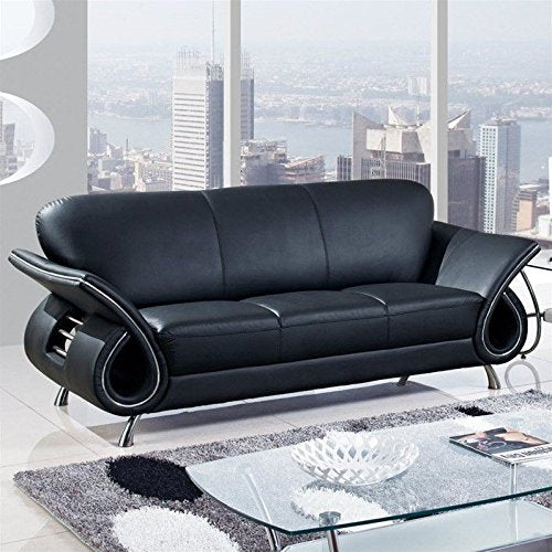 Global Furniture Leather Matching Sofa with Black/Mahogany Arms