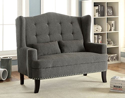 Furniture of America Mikaela Romantic Wing-Back Upholstered Love Seat, Gray