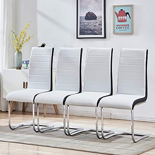 Modern Dining Chairs with Chrome Loop Legs Design, Comfortable Kitchen Chairs with Faux Leather Padded Seat for Kitchen, Living, Bedroom, Dining Room Side Chairs Set of 4 (White)