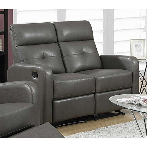 Monarch Specialties I 85GY-2 Reclining Love Seat in Charcoal Grey Bonded Leather