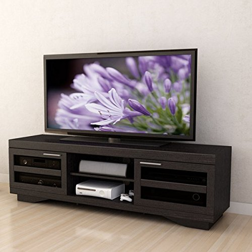 "66"" TV Stand Enclosed Adjustable Shelves for Customized Storage Space Sliding Tempered Glass Doors Framed with Horizontal Wood Trim"