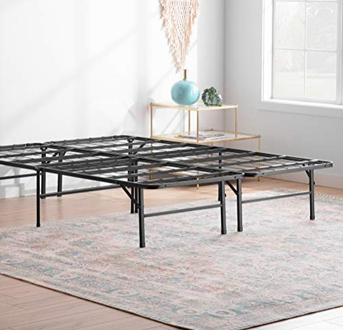 Linenspa 14 Inch Folding Metal Platform Bed Frame - 13 Inches of Clearance - Tons of Under Bed Storage - Heavy Duty Construction - 5 Minute Assembly - Queen