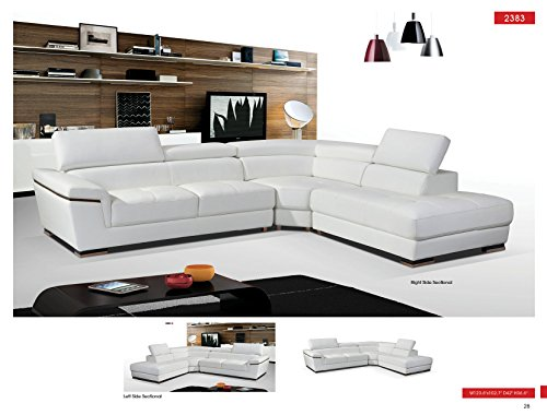 ESF 2383 White Genuine Leather Sectional Sofa