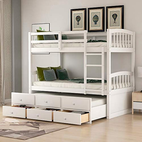 Solid Wood Bunk Beds for Kids, Hardwood Twin Over Twin Bunk Bed Frame with Trundle and Storage Drawers (White(Front Ladder))