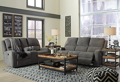 Krismen Contemporary Fabric Charcoal Color Power Reclining Sofa With Adjust Headrest