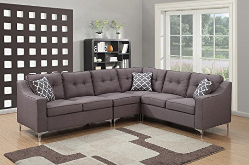 AC Pacific Kayla Collection Modern Linen Fabric Upholstered Tufted L Shaped Living Room Sectional, Grey, 4 Piece