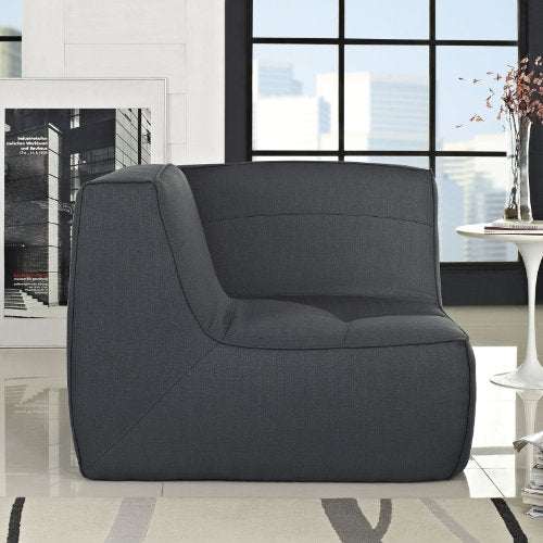 Modway Align Upholstered Corner Sofa in Charcoal