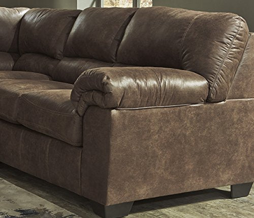 Bladen Contemporary Coffee Color Faux Leather Sectional Sofa