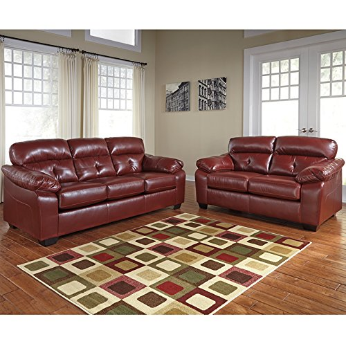 Flash Furniture Benchcraft Bastrop Sofa in Crimson DuraBlend