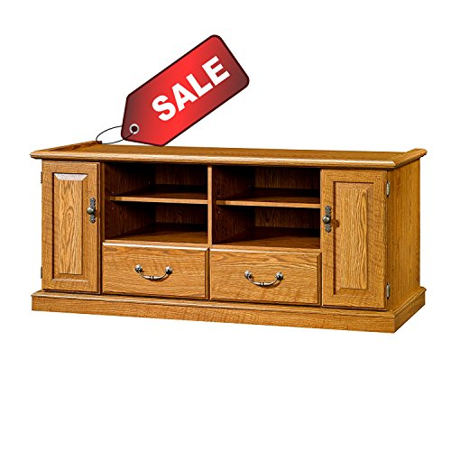 Multi Media TV Stand with Cabinets and Adjustable Shelves Oak Wooden Rectangular Rustic Up to 55 Inch Flat Screen Panel Living Room Media Center