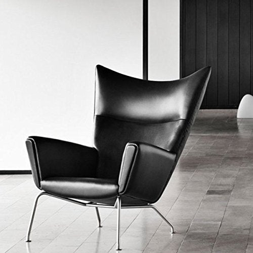 Emorden Furniture Hans J Wegner Designed Wing Chair & Ottoman(Multi Colors Available), Top-Grain Black Italian Premium Leather/Stainless Steel