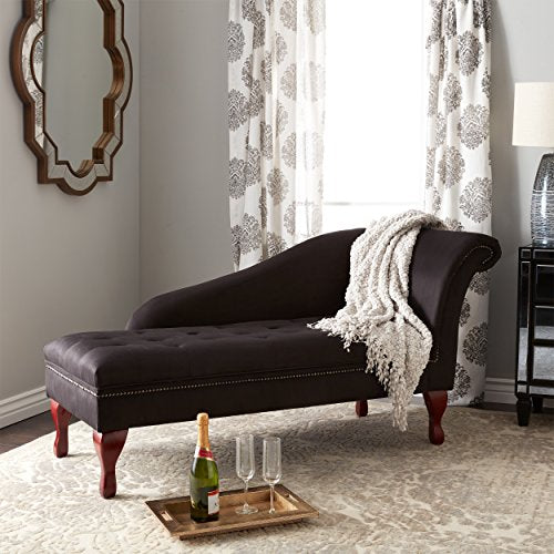 Elegant Storage Chaise Lounge, Button Tufted, Nailhead Trim, Hardwood Frame, Luxurious and Sophisticated, Hidden Storage Area, Microfiber Fabric Upholstery, Polyurethane Foam Padding, Black Color