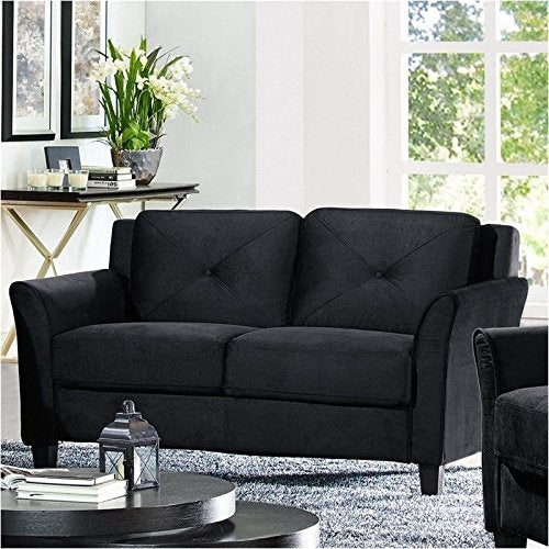 BOWERY HILL Microfiber Loveseat in Black