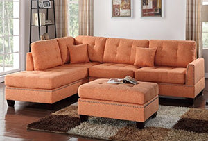 3Pcs Modern Contemporary Citrus Linen-Like Fabric Reversible Sectional Sofa Set with Ottoman For Living Room