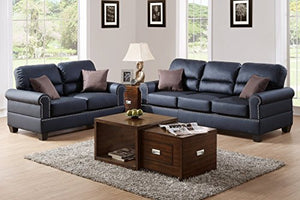 2Pcs Modern Black Bonded Leather Sofa Loveseat Set Trimmed in Nickel Finished Buttons