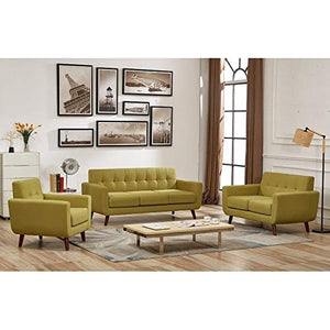 US Pride Furniture Grace Mid-Century Tufted Upholstered Rainbeau Living Room Sofa, Loveseat, and Chair 3-Piece Set Olive Green