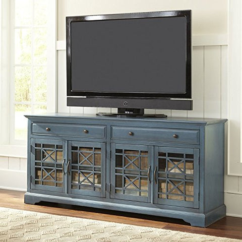 "Liquid Pack Solutions Antique Blue Color 70"" TV Stand Made of Solid Acacia Wood & MDF With Glass on The Doors Wood Side Track Drawers 2 Drawers & 2 Cabinets"