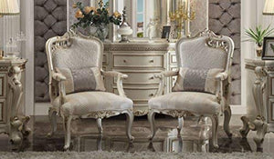 Acme Picardy Accent Chair with Pillow in Antique Pearl