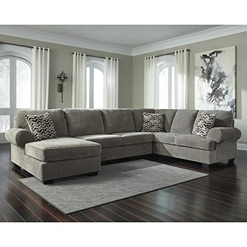 Flash Furniture Signature Design by Ashley Jinllingsly 3-Piece RAF Sofa Sectional in Gray Corduroy