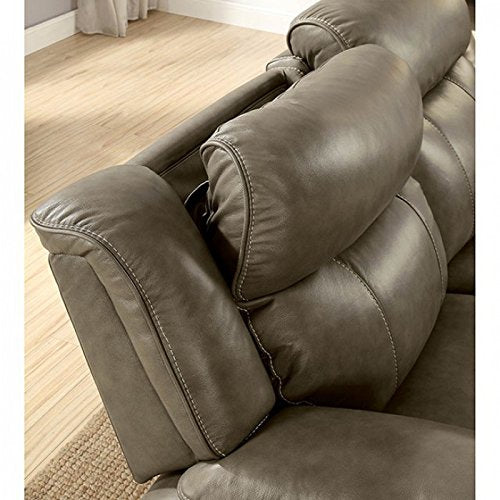 Esofastore Contemporary Top Grain Leather Gray Sofa Loveseat 2pc Set Reclining Cushion Couch Living Room Furniture