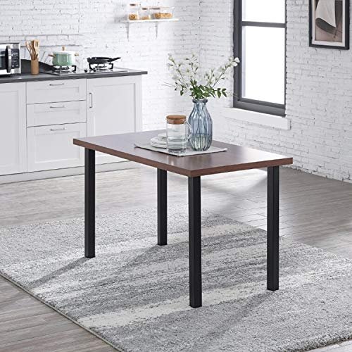 IDS Home 7 Piece Classic Dining Room Table Rectangular Top Wood and Chair Set of 6, Kitchen Furniture with Rust Resistant Metal Leg Frame, Black (1Table+6Chairs)