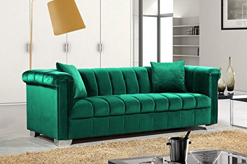 Meridian Furniture 615Green-S Kayla Channel Tufted Velvet Upholstered Sofa with Custom Chrome Legs, Green