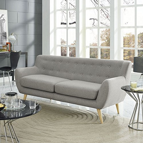 Modway Remark Mid-Century Modern Sofa With Upholstered Fabric In Light Gray