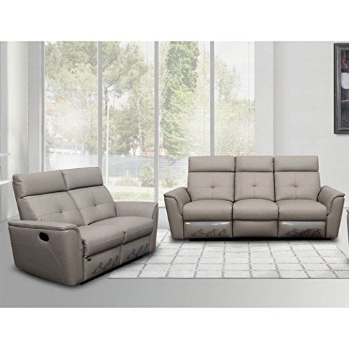 Luca Home Light Grey Sofa and Love-seat Manual Reclining Set