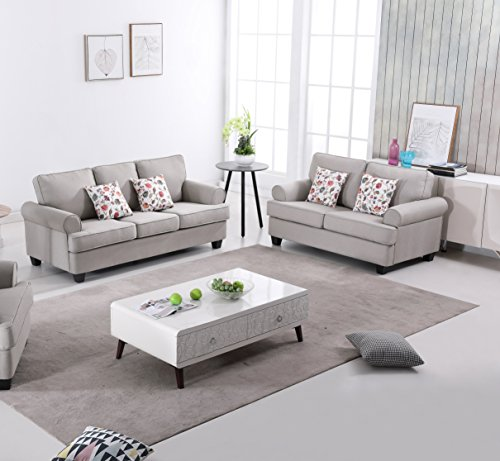 US Pride Furniture S5342-2PC Audrey 2-Piece Fabric Sofa Set, Tan