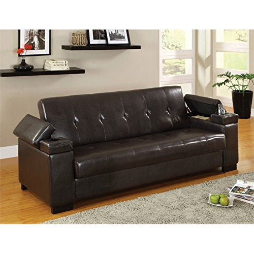 BOWERY HILL Leather Sleeper Sofa in Espresso