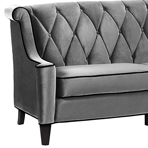Armen Living LC8443GRAY Barrister Sofa in Grey Velvet and Black Wood Finish