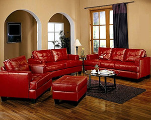 4pc Red Couch Set Sofa Living Room Home Office Furniture Chair Armchair Seat Loveseat Quare Ottoman Faux Leather UP Vinyl Look Stylish Modern Wooden Frame