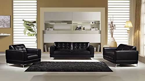 "American Eagle Furniture EK003-BK-SF Soledad Mid-Century Modern Italian Leather Living Room Sofa, 82"", Black"