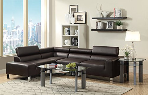 Benzara BM166762 Bonded Leather 2 Piece Espresso Brown Sectional Sofa