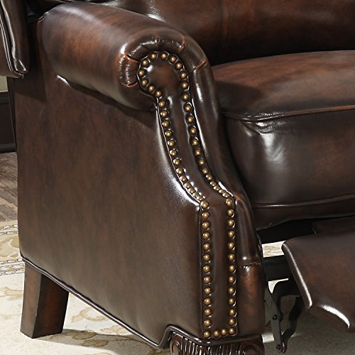 Christies Home Living Traditional Nailhead Recliner Leather Pushback, Brown