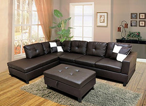 WINPEX 3 Piece Faux Leather Sectional Sofa Set with Free Storage Ottoman + left or right chaise orientation