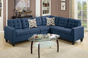 Advanced Modern Navy Linen-Like Fabric Reversible Sectional Sofa Set with tuft back and 2 accent pillows