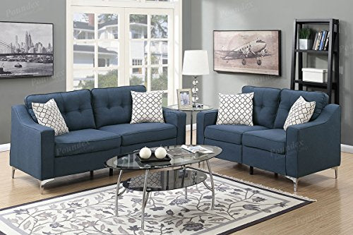 Advanced Contemperary Linen-Like 2 Piece Sofa and Loveseat Set, Navy