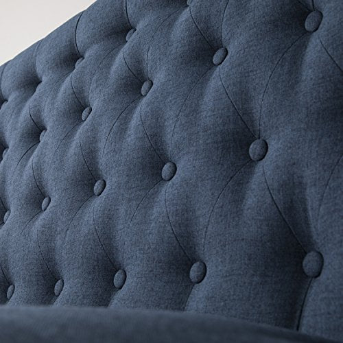 "Furniture HotSpot – High Back Tufted Settee - 48.5"" W x 30"" D x 39.5"" H (Navy)"