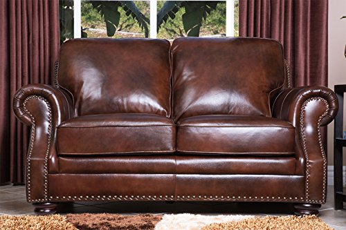Abbyson Living Karington Hand Rubbed Leather Loveseat